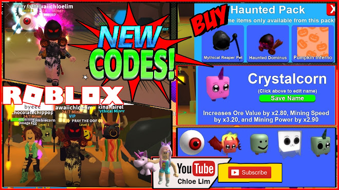 Roblox Mining Simulator Gameplay! HALLOWEEN 5 NEW CODES! Crystalcorn