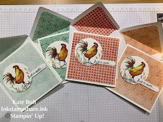 Painted Seasons papers and Home To Roost stamp set, hand made notecards and gift box