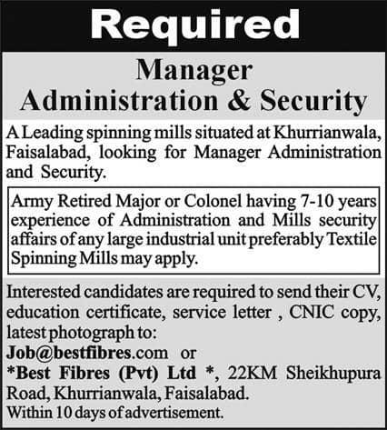 Best Fibers (Pvt) Ltd Faisalabad Job Ad 2021