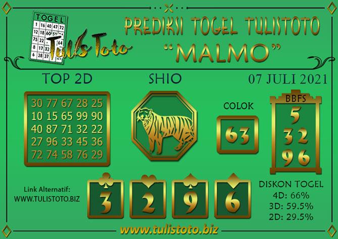 Prediksi Togel MALMO TULISTOTO 07 JULI 2021