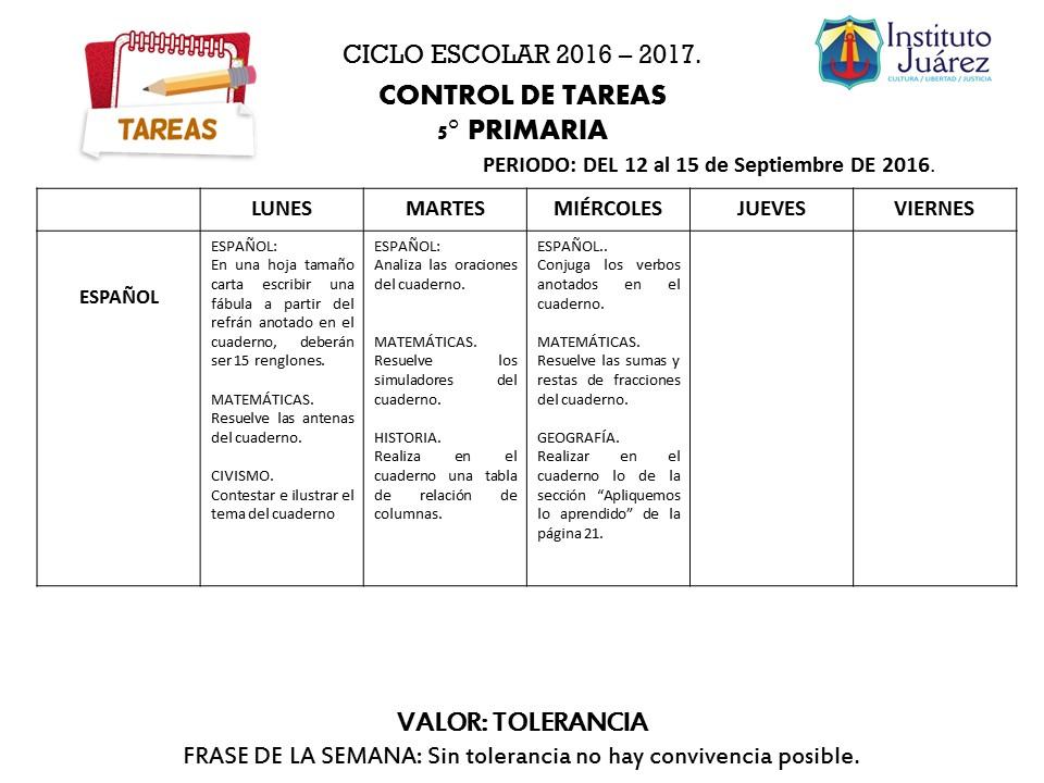 Instituto Juárez 5° Primaria: Tareas Español Quinto Grado del 12 al ...
