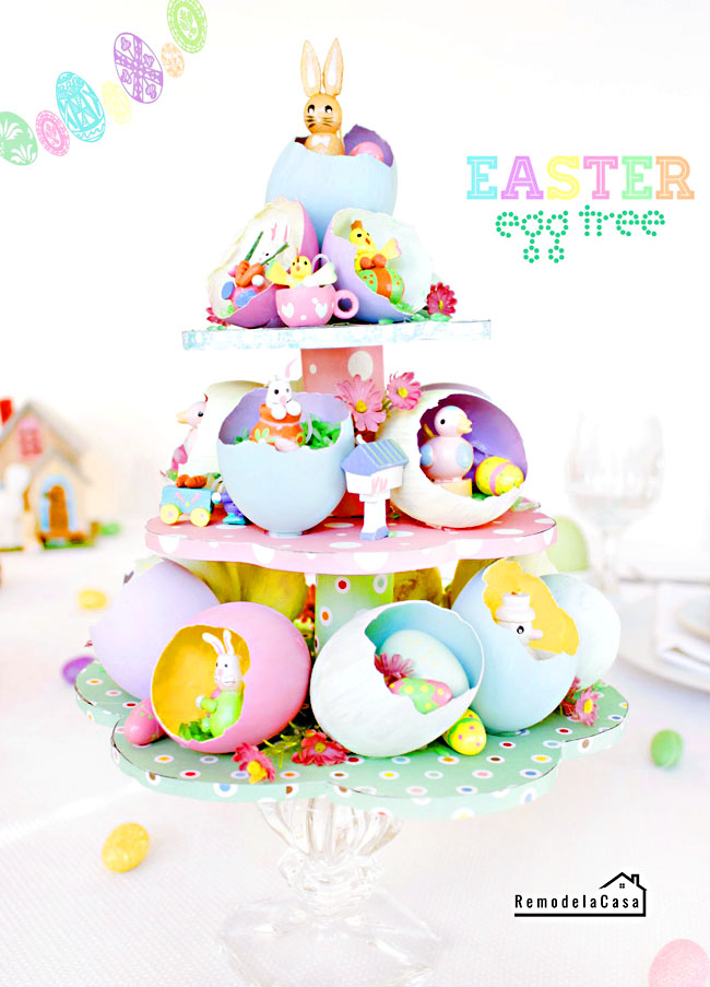 tablescape for Easter with and Easter egg tree centerpiece