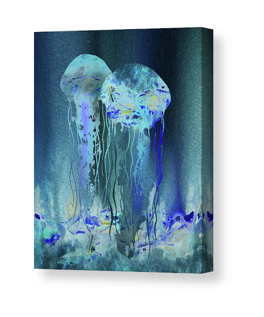Bestselling Watercolor Painting of Jellyfish by artist Irina Sztukowski