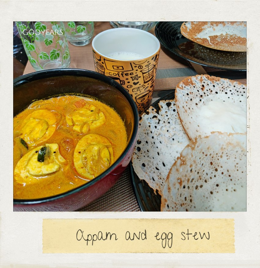 Kerala breakfast - Appam and egg stew