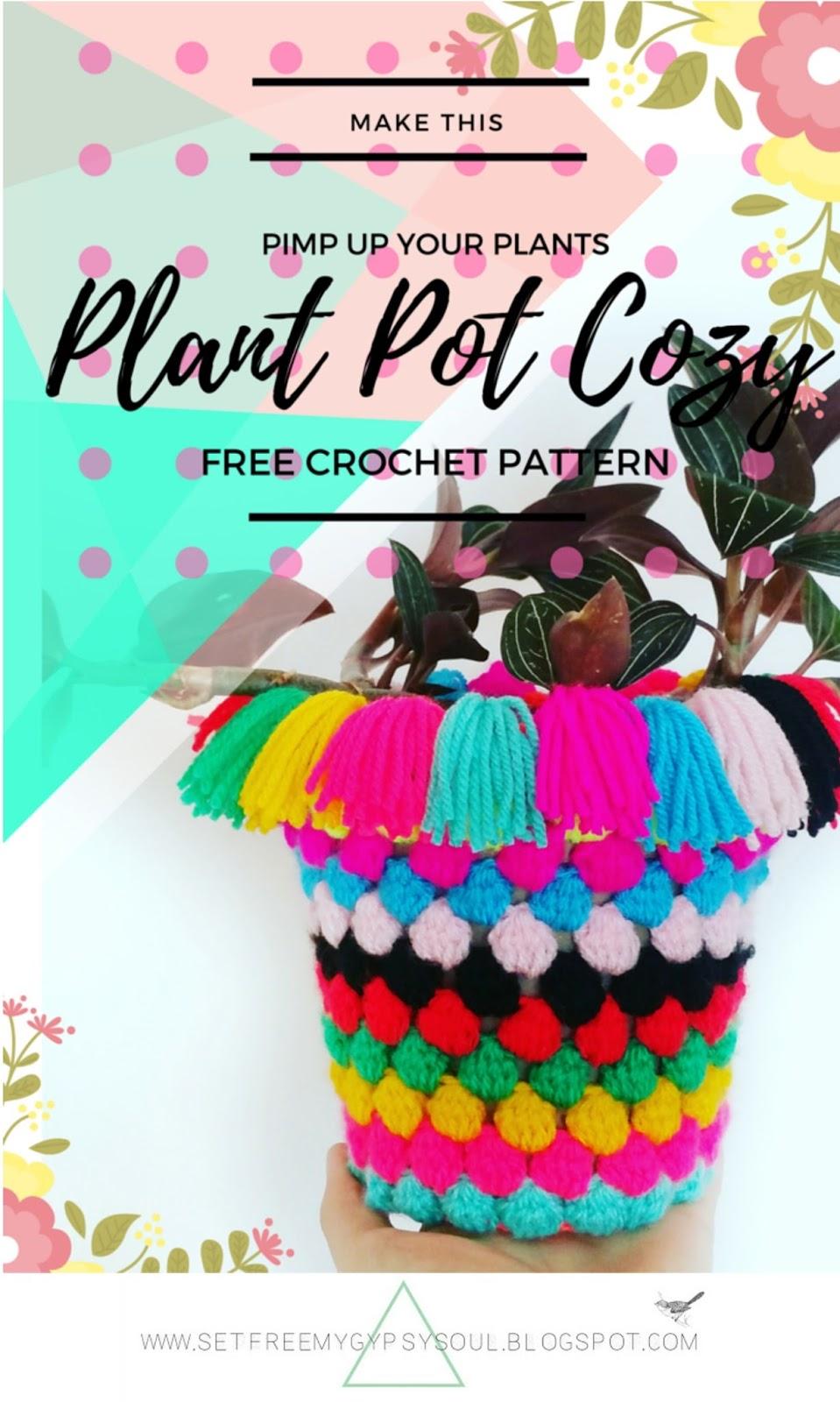 free crochet pattern bohemian home decor plant pot popcorn bobble stitch