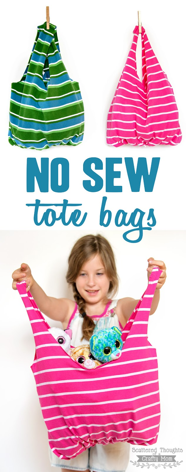 Learn how to make these No Sew Tote Bags. All you need is ...