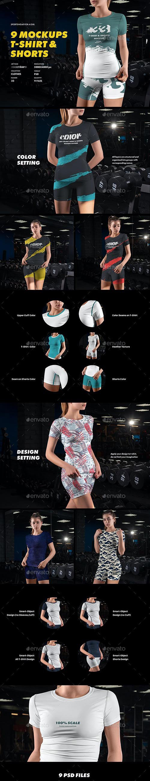 GraphicRiver 9 Sports T Shirts and Shorts Mockups 32271118.