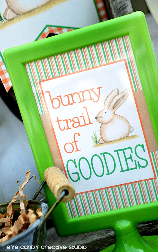 easter bunny drawing, bunny trail of goodies, easter decor, easter sign