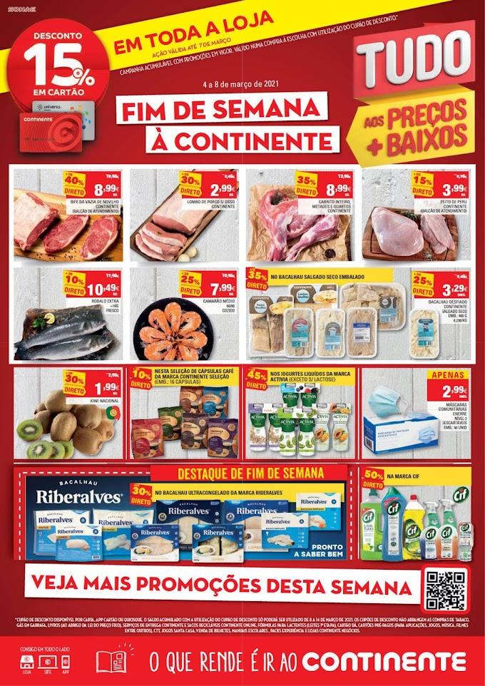 """Folheto Continente """"Fim de semana à Continente"""" - de 4 a 8 de março"""