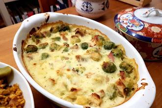 Brussels sprouts en gratin- Gratin aux choux de Bruxelles et saucisses