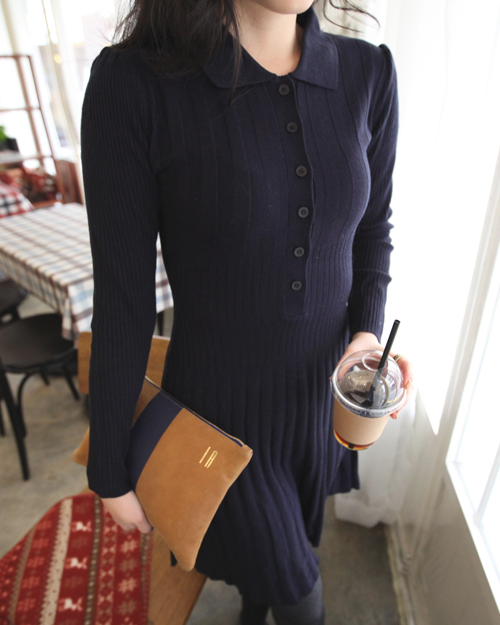 Long Buttoned Front Knit Dress