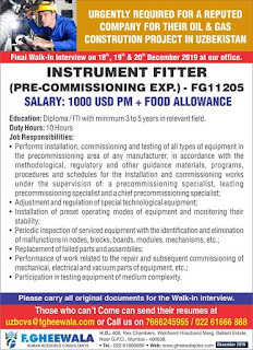 Instrument Fitter for Oil and Gas Project in Uzbekistan