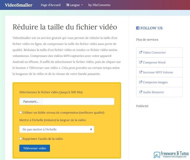 VideoSmaller : un service en ligne gratuit pour réduire la taille des vidéos
