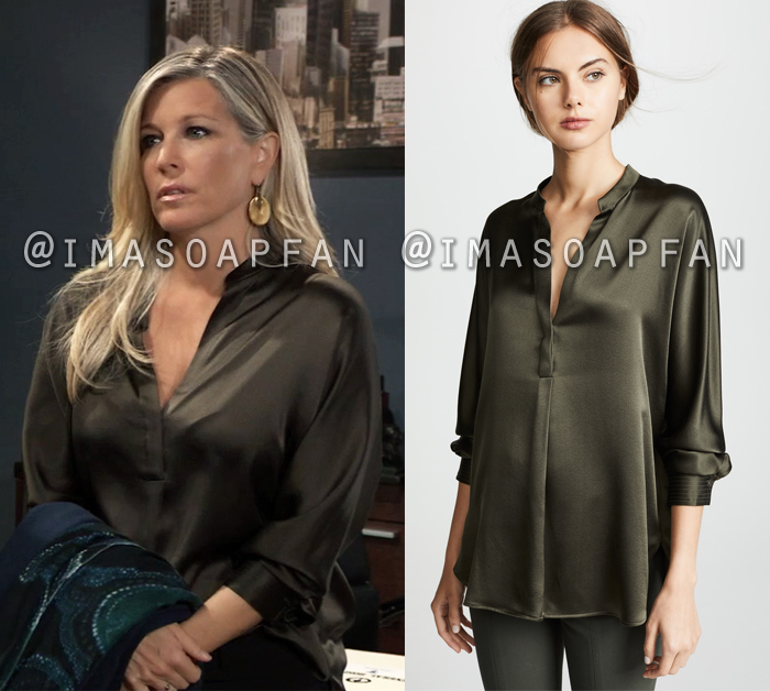 Carly Corinthos, Laura Wright, Brownish Green V-neck Silk Blouse, General Hospital, GH