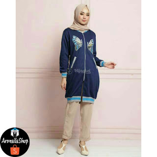 HIJACKET Butterfly Warna Navy Perium Fleece Jaket Muslimah