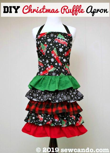 christmas ruffle apron pattern