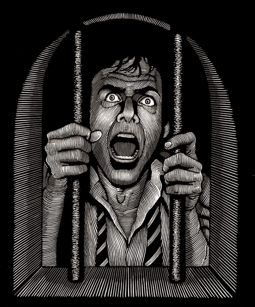 14-Behind-Bars-Douglas-Smith-Scratchboard-Drawings-Through-Time-and-Lives-www-designstack-co