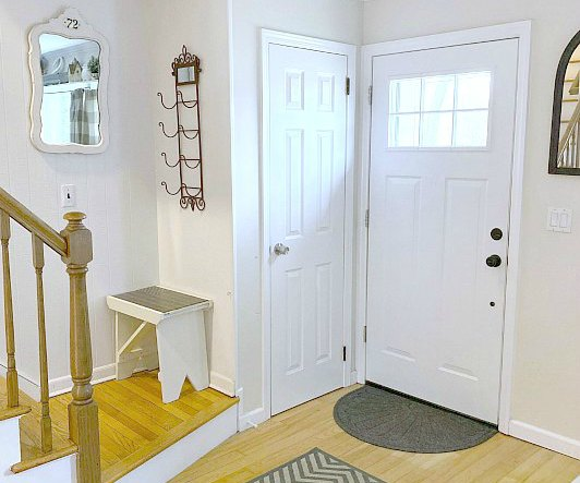 Farmhouse Style Entryway Mirror with Antique Tag