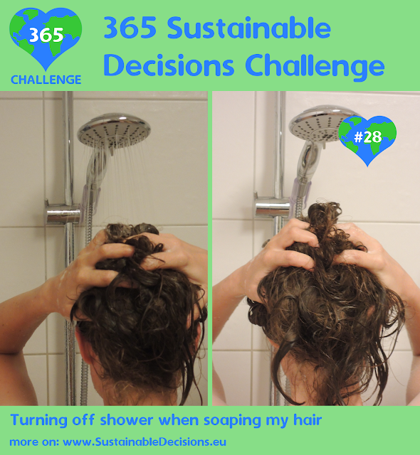 #28 - Turning off shower when soaping my hair, sustainable living, sustainability, climate action, saving water, saving energy, saving money