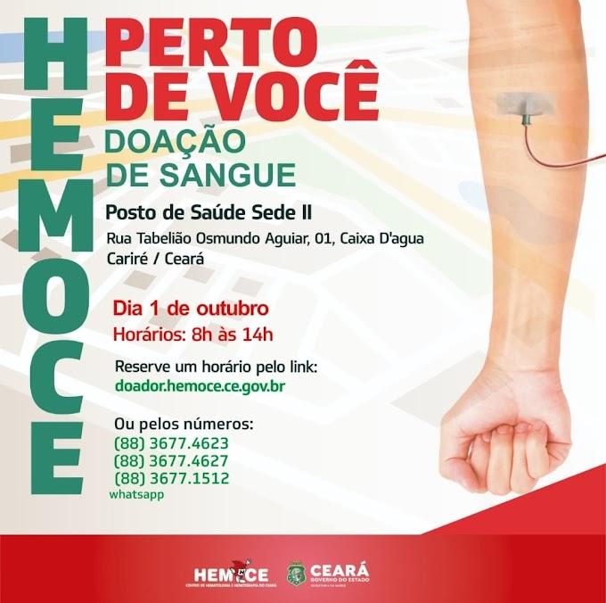 Dia 1º de outubro, de 8h às 14h, será realizada a campanha de captação de doadores de sangue na UBS Sede II de Cariré-CE