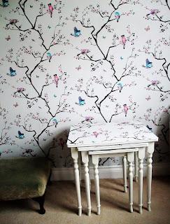 chinoiserie bird print wallpaper