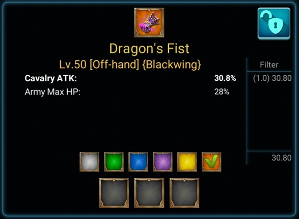 Item Dragon's Fist pada Lords Mobile
