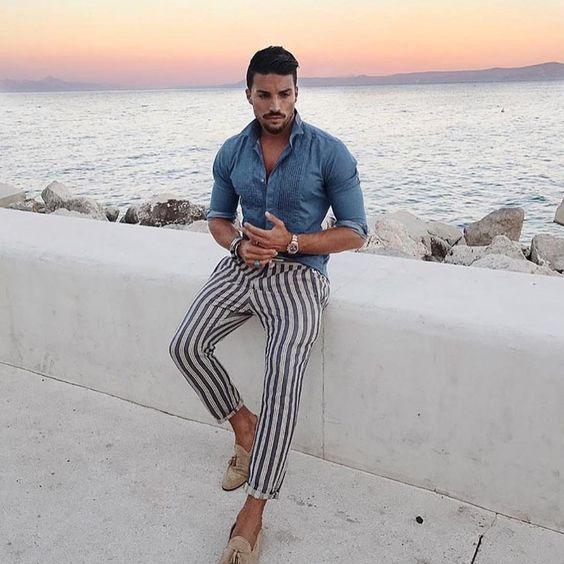 look masculino com calça listra lateral vertical tendencia verao 2019