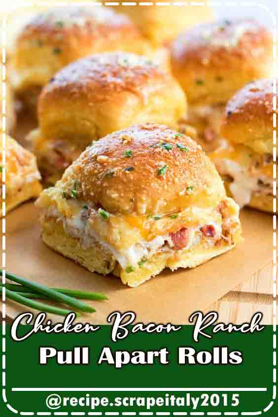 When you're within the mood for one thing totally different for a grab-n-go for lunch or coming up with tasty game day fare these Chicken Bacon Ranch Pull Apart Rolls can match the bill. Buttery rolls full of chicken, bacon and cheese square measure drizzled with Ranch dressing then baked till they're heat and adhesive. They're therefore terribly tasty and straightforward to organize that they're certain to become a family favorite. #delicious #recipes #breats