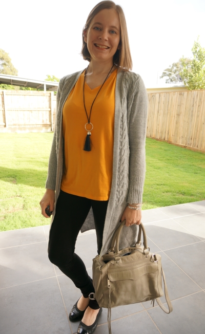 mustard tee worn as a pop of colour with jeans wool cardigan | away from the blue