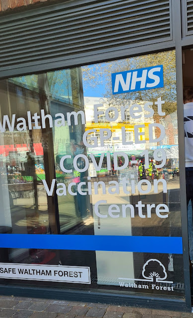 Covid-19 vaccination centre at Walthamstow Library, April 2021