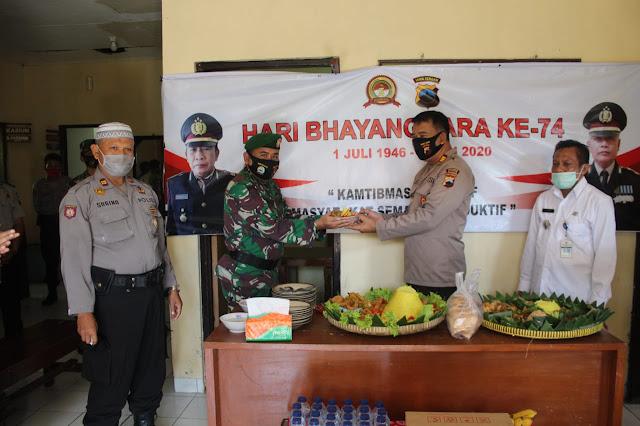 Kompak Koramil Cawas dan Kecamatan Berikan Ucapan HUT Bhayangkara ke 74