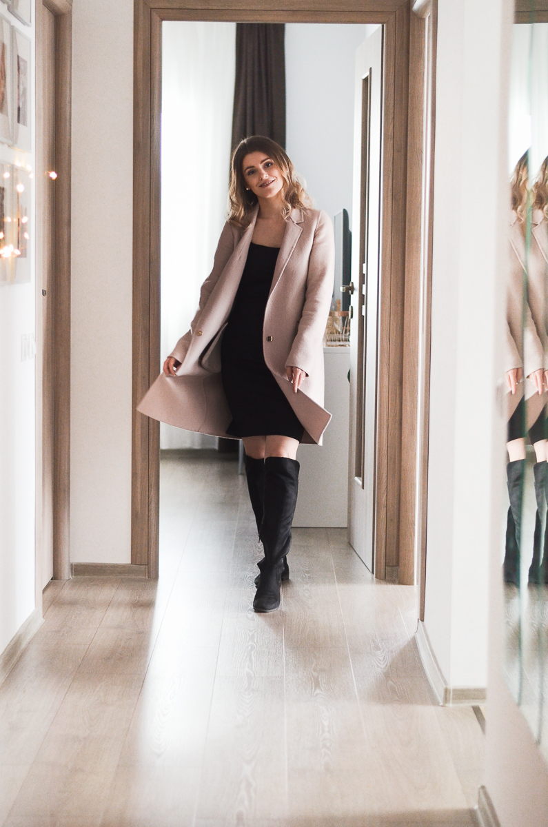 dusty pink coat outfit
