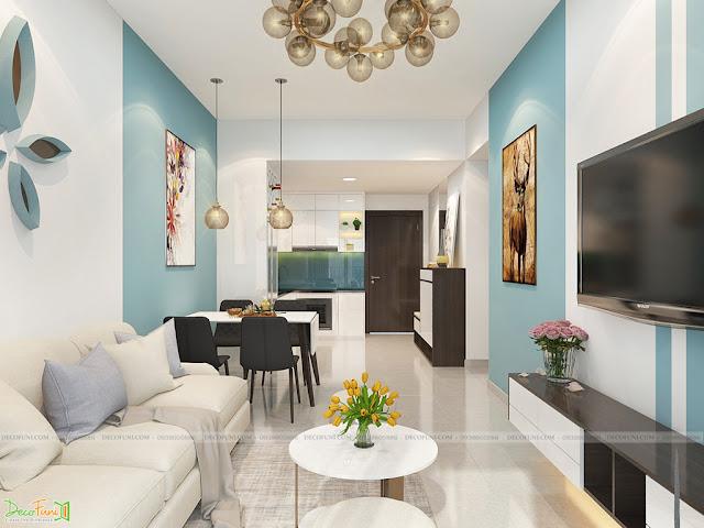 Nội thất phòng khách chung cư 65m2 - 2 phòng ngủ - 2