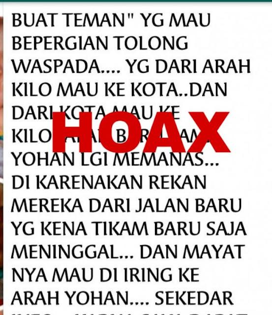 Beredar Info Hoax Pasca Bentrokan