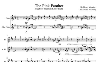 preview image of pink panther sheet music for flute and alto flute