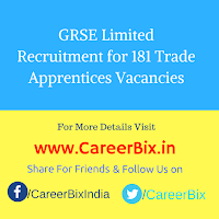 GRSE Limited Recruitment for 181 Trade Apprentices Vacancies
