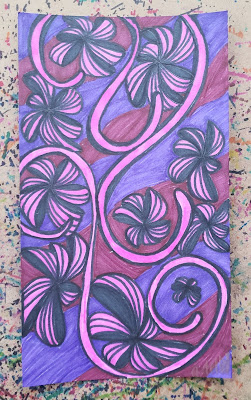 A pen and ink doodle meditation in purple and pink and a blurb about the Amillaria Gallica located in Michigan