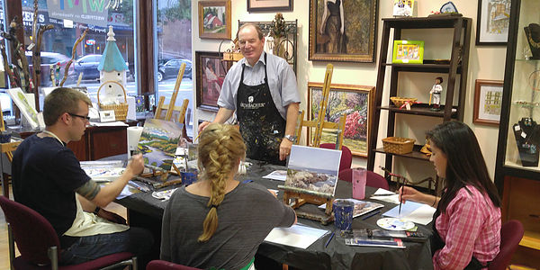 Teaching acrylic painting at Westfield Creative Arts!