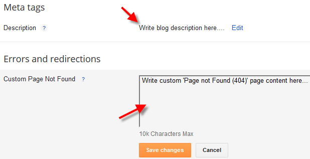 Error and redirection settings for blogger