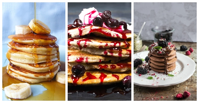 3 varieties of scotch pancakes stacked up, the first with maple syrup and banana, the second with blueberry compote and the third with chocolate sauce