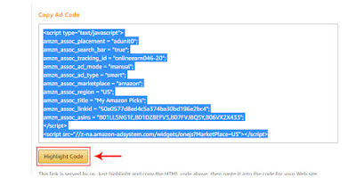 how to generate ads code amazon native shopping ads
