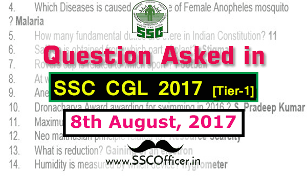 Question Asked in SSC CGL 2017 Tier-1 on 8th August- [PDF]- SSC Officer