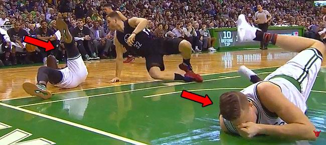 Jonas Jerebko & Jaylen Brown Head-on-Head Collision (VIDEO)