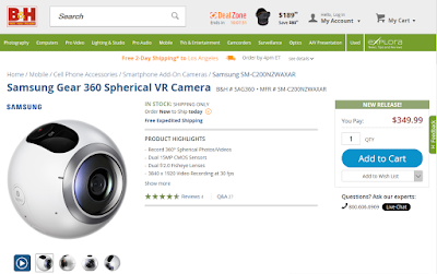 Samsung Gear 360 now available at B&H Photo