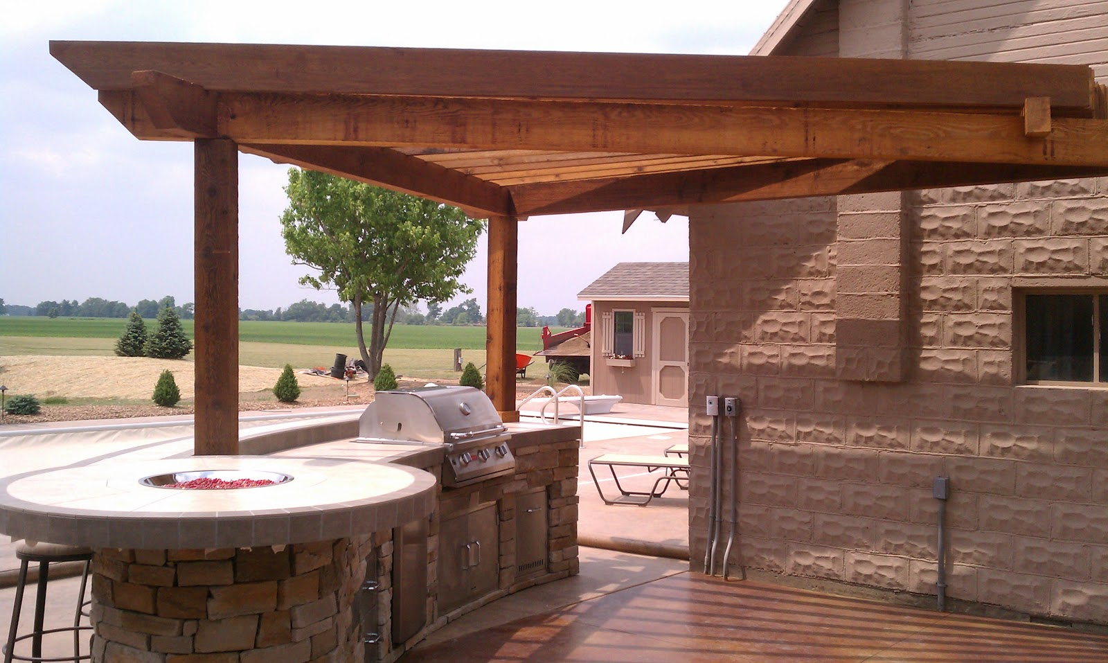 red stone outdoor kitchen used commercial equipment buyers living radial pergola