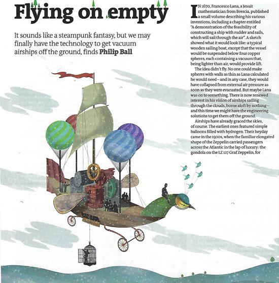 Flying on (vacuum) empty (Source: Philip Ball, New Scientist, 21 Dec 2019)