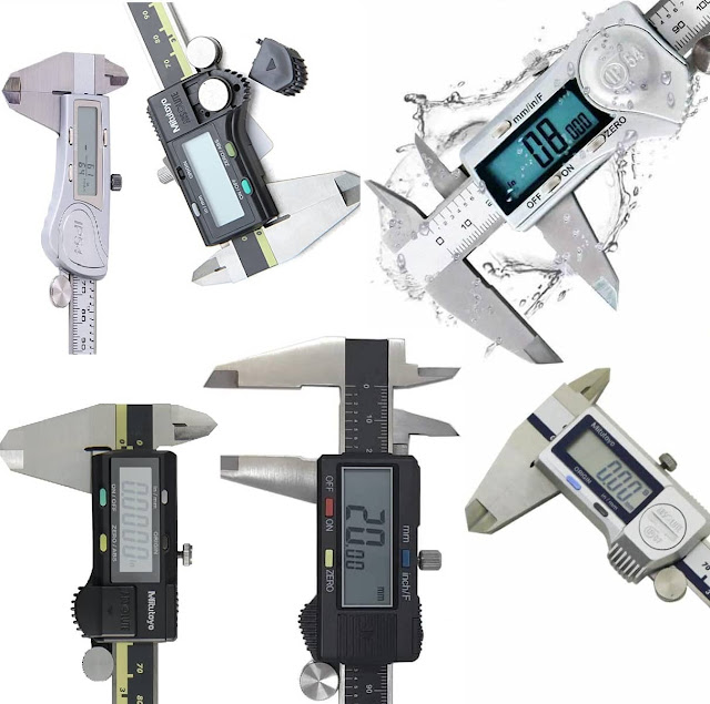 """X-large iGAGING Silver 4/"""" Electronic Caliper 0.0005/"""" Inch Metric Fractions"""