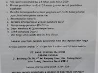 Lowongan Teller - Bank Syariah Mandiri KC Padang sd Sabtu 13 April 2019