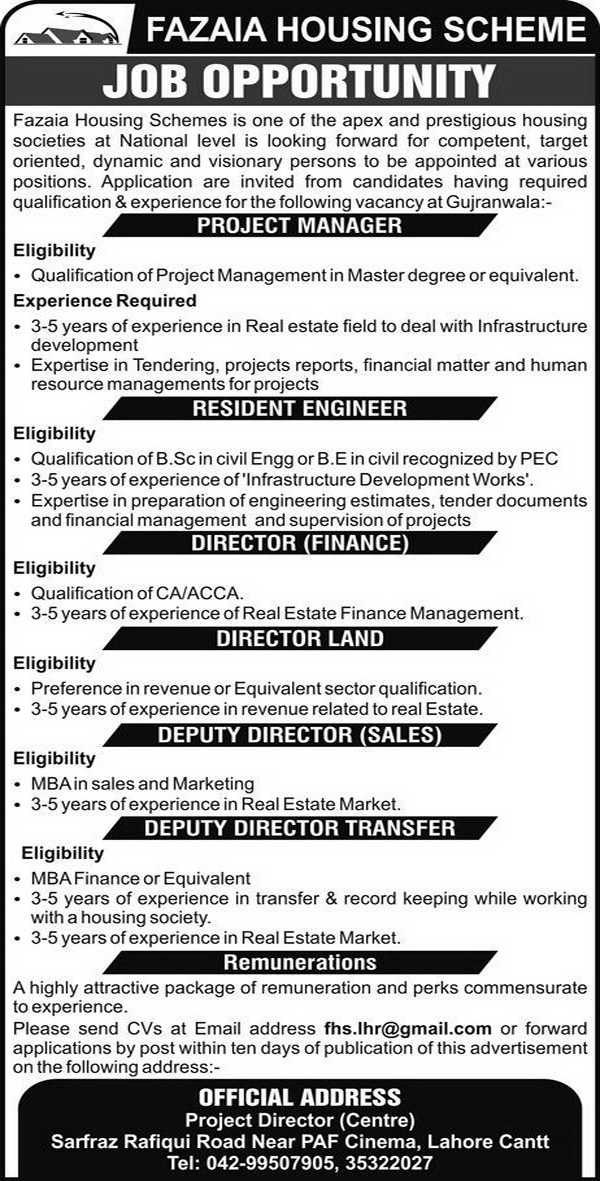 Jobs in Fazaia Housing Scheme Jobs 2018