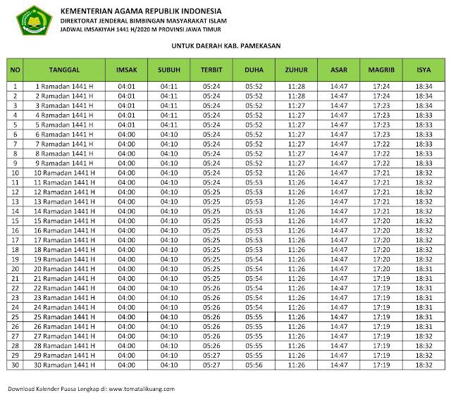 jadwal imsak waktu buka puasa Kabupaten Pamekasan 2020 m ramadhan 1441 h tomatalikuang.com